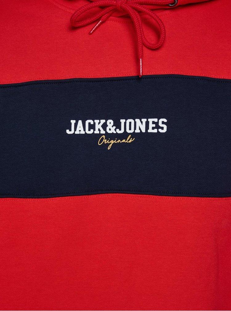Modro-červená mikina s nápisem Jack & Jones Josh