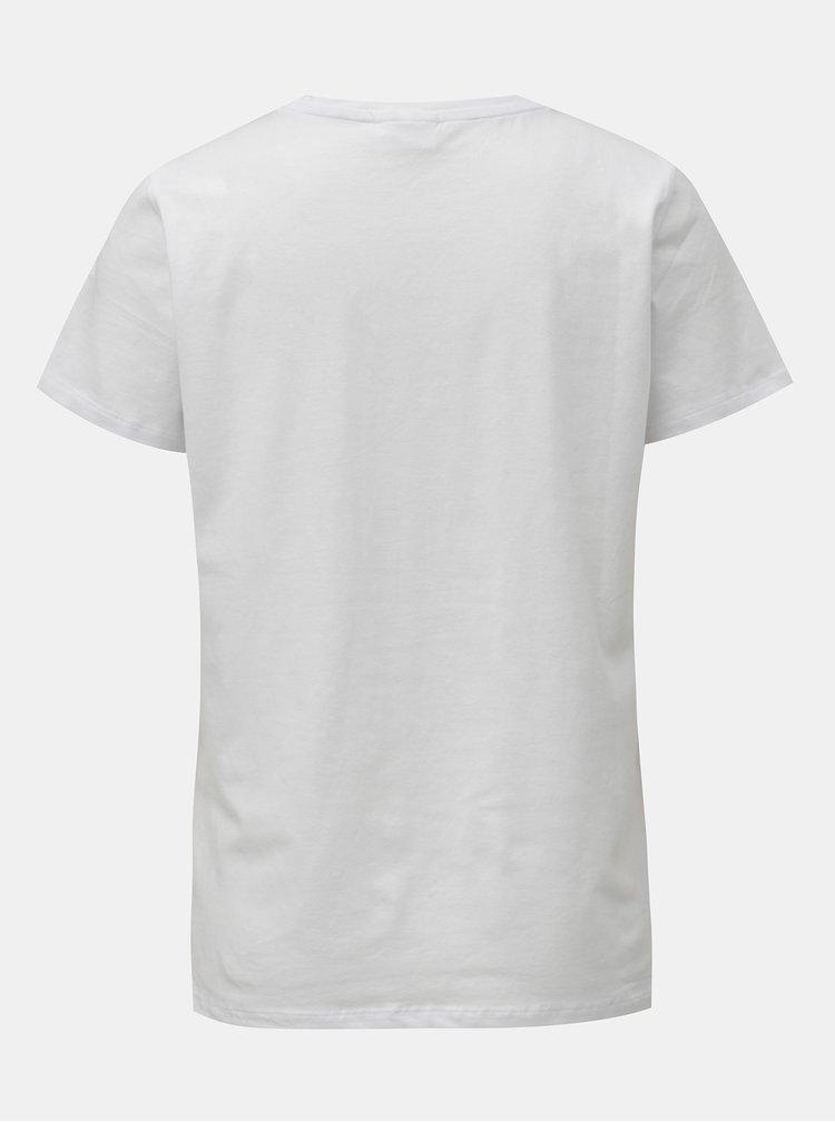 Biele tričko so srdiečkom a krátkym rukávom Noisy May Natuere