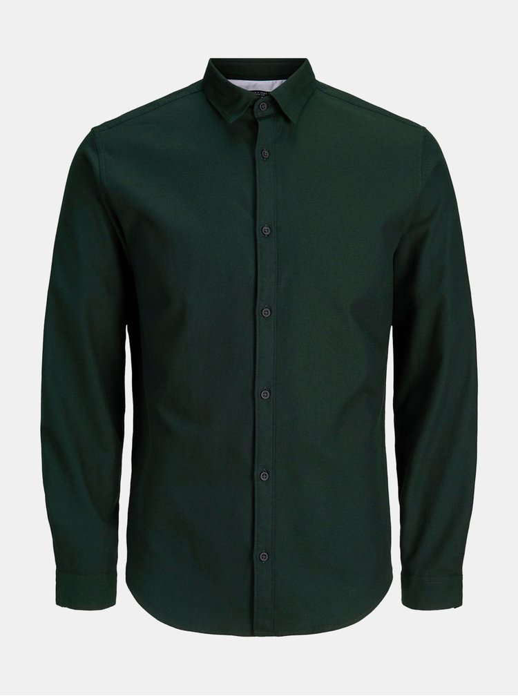 Camasa verde inchis slim fit informala Jack & Jones Ray