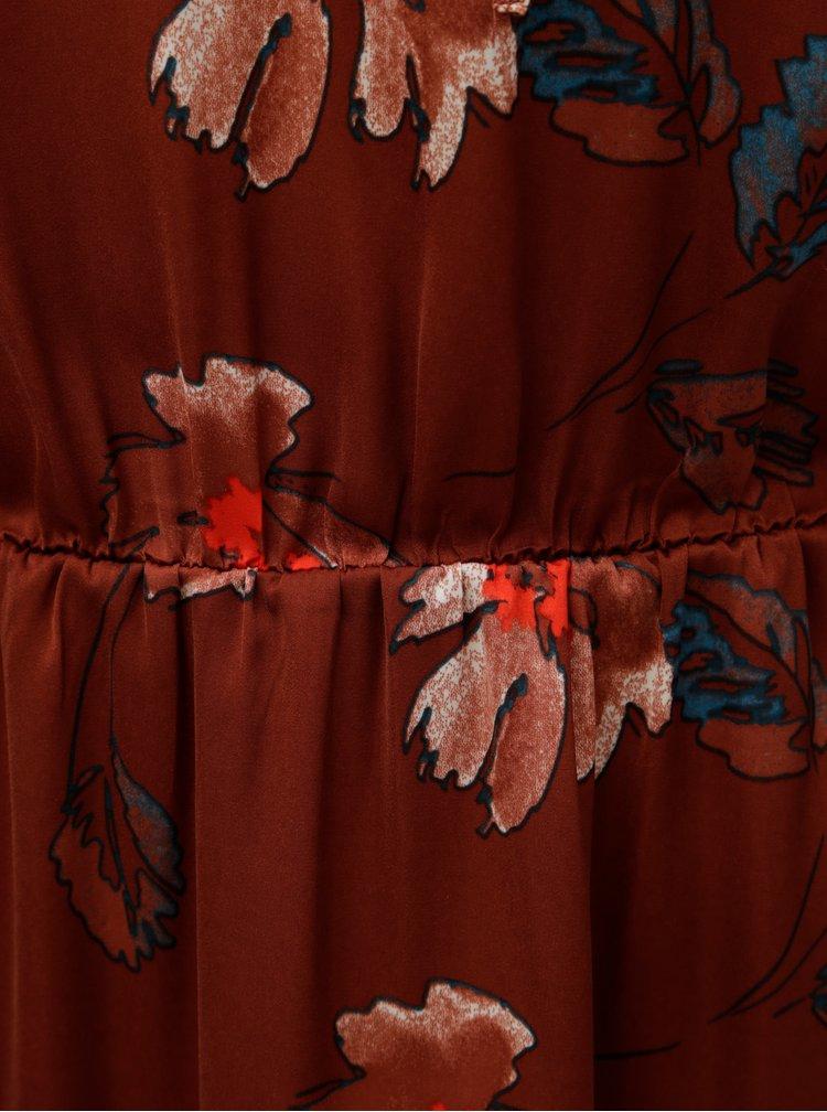 Rochie maro florala cu volane VERO MODA Isla