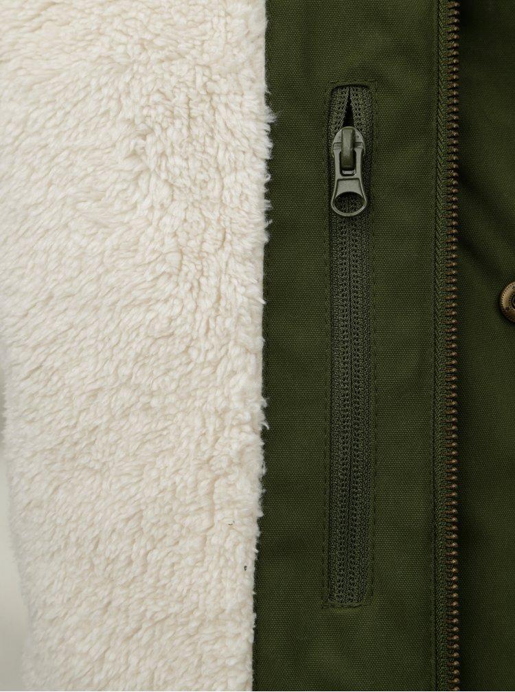 Geaca parka barbateasca verde cu blana artificiala interioara Meatfly Rodney