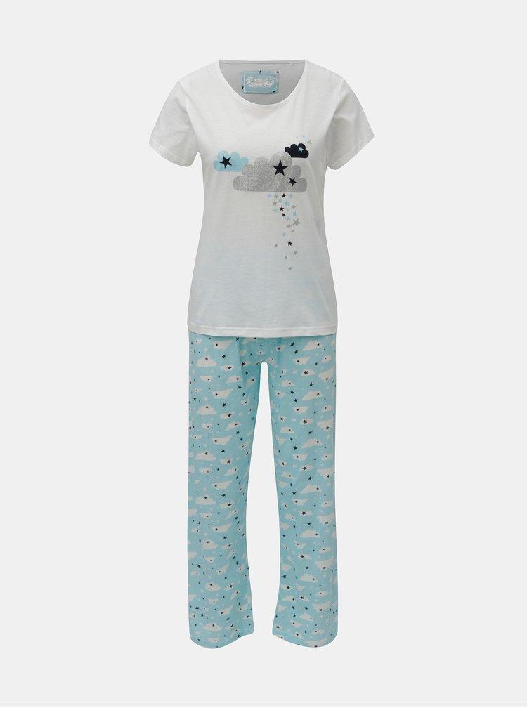 Modro-bílé dvoudílné pyžamo s motivem mraků a hvězd M&Co