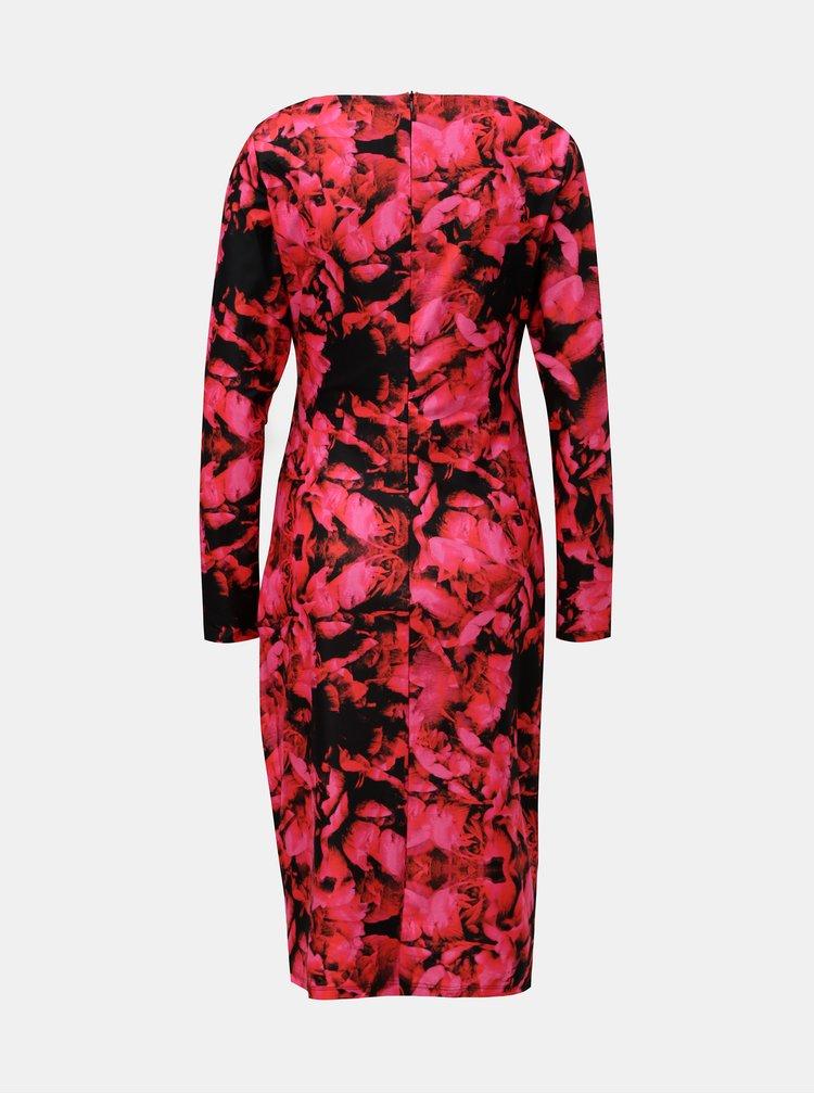 Rochie negru-roz florala cu pliuri laterale Smashed Lemon