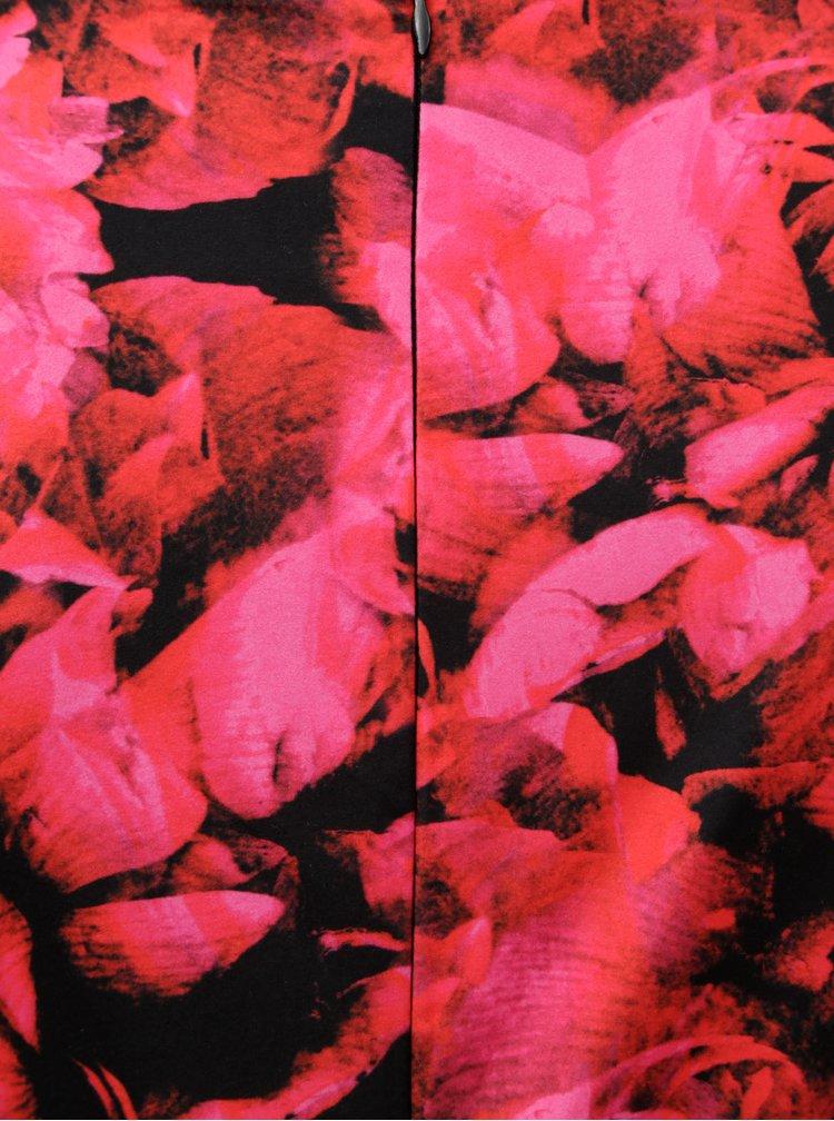 Černo-růžové květované šaty s řasením na boku Smashed Lemon