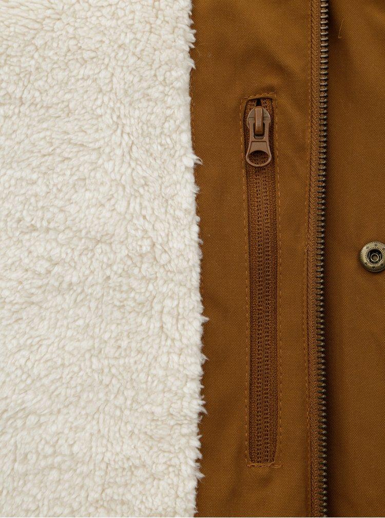 Geaca parka barbateasca maro cu blana artificiala interioara Meatfly Rodney