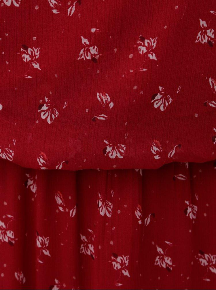 Rochie rosie florala cu dantela VERO MODA Viola