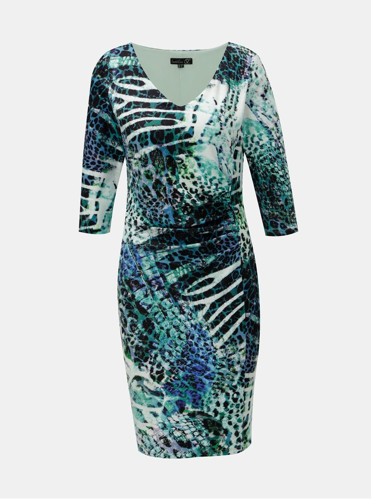 Rochie albastru-verde cu model si pliuri laterale Smashed Lemon