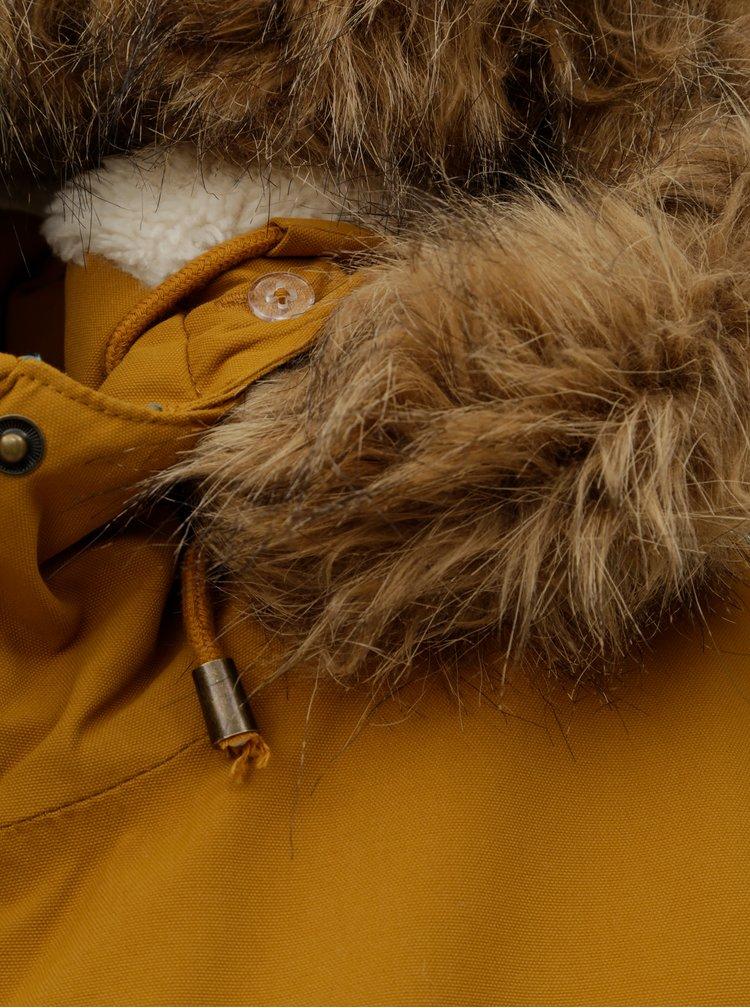 Hořčicová dámská zimní parka s vnitřním umělým kožíškem Meatfly Ruby