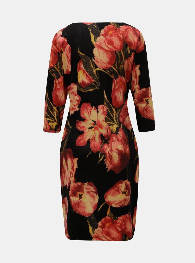 Červeno-černé šaty s motivem tulipánů Smashed Lemon