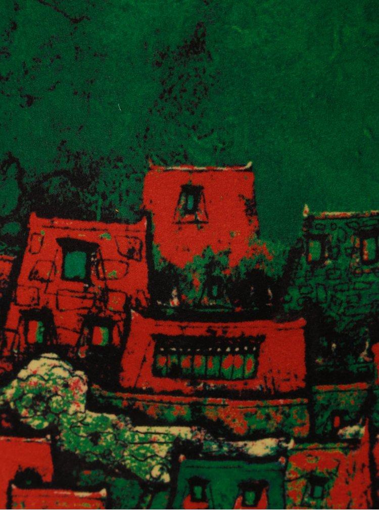 Rochie rosu-verde cu motiv oras Smashed Lemon
