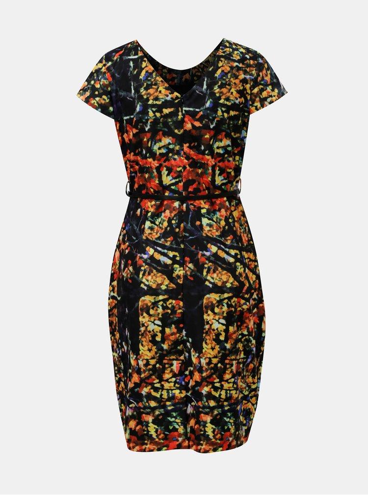 Rochie oranj-negru cu model si cordon Smashed Lemon