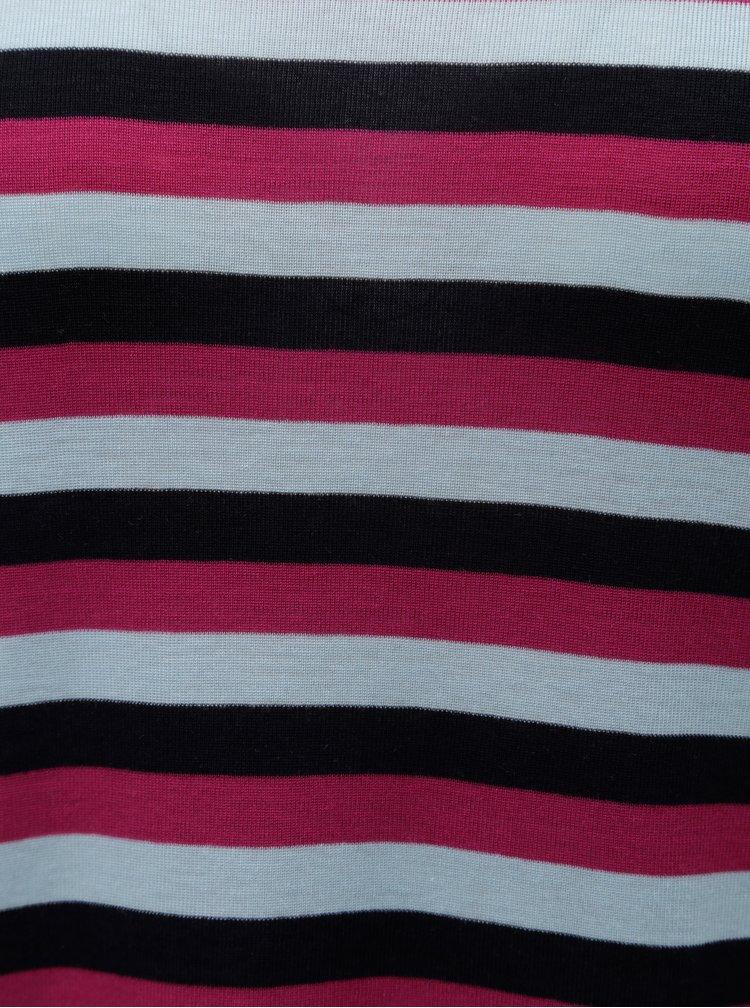 Tricou basic albastru-roz in dungi cu maneci scurte VERO MODA Vita