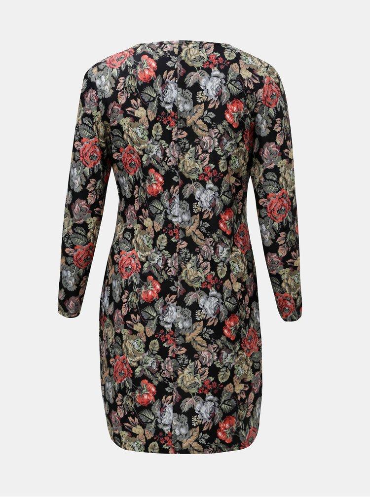 Rochie verde-negru florala cu decolteu suprapus La Lemon