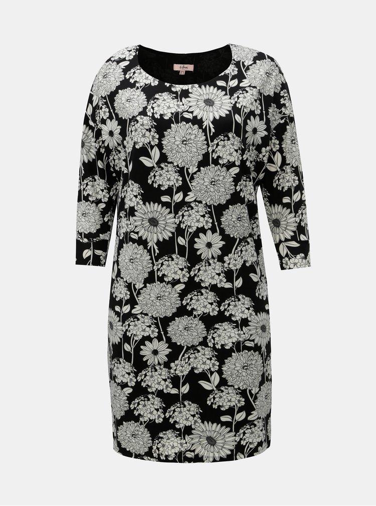 Bílo-černé květované šaty s 3/4 rukávem La Lemon