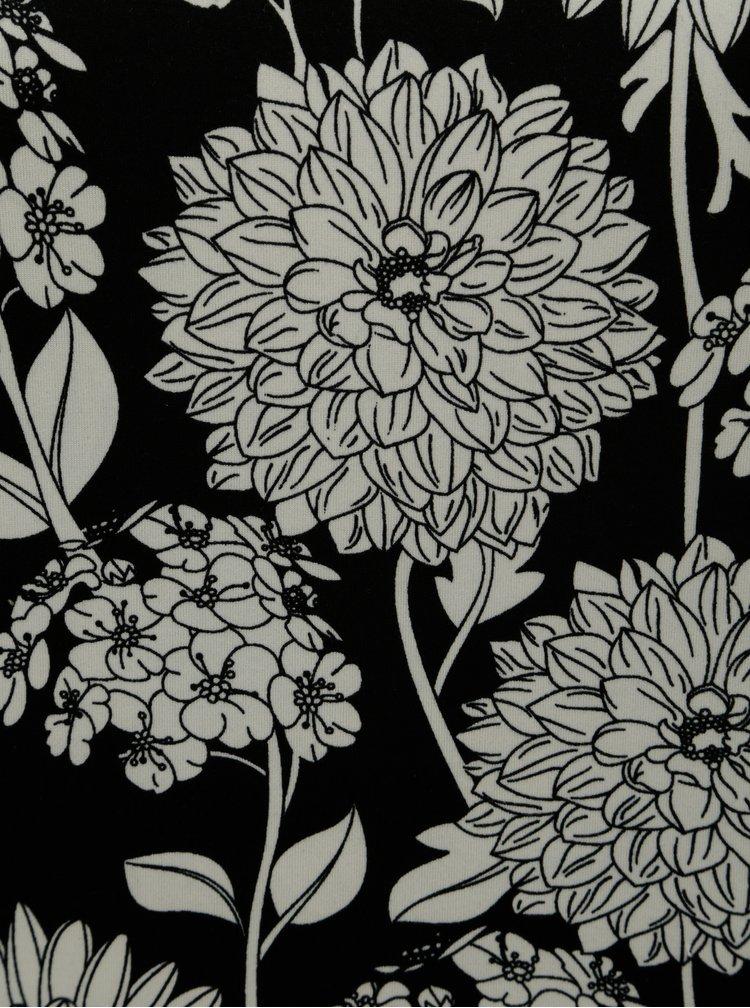 Rochie alb-negru florala cu maneci 3/4 La Lemon