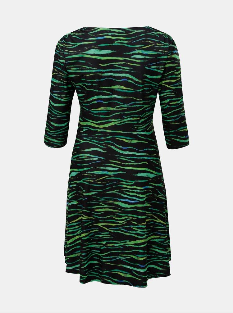 Rochie verde-negru cu model si decolteu suprapus La Lemon
