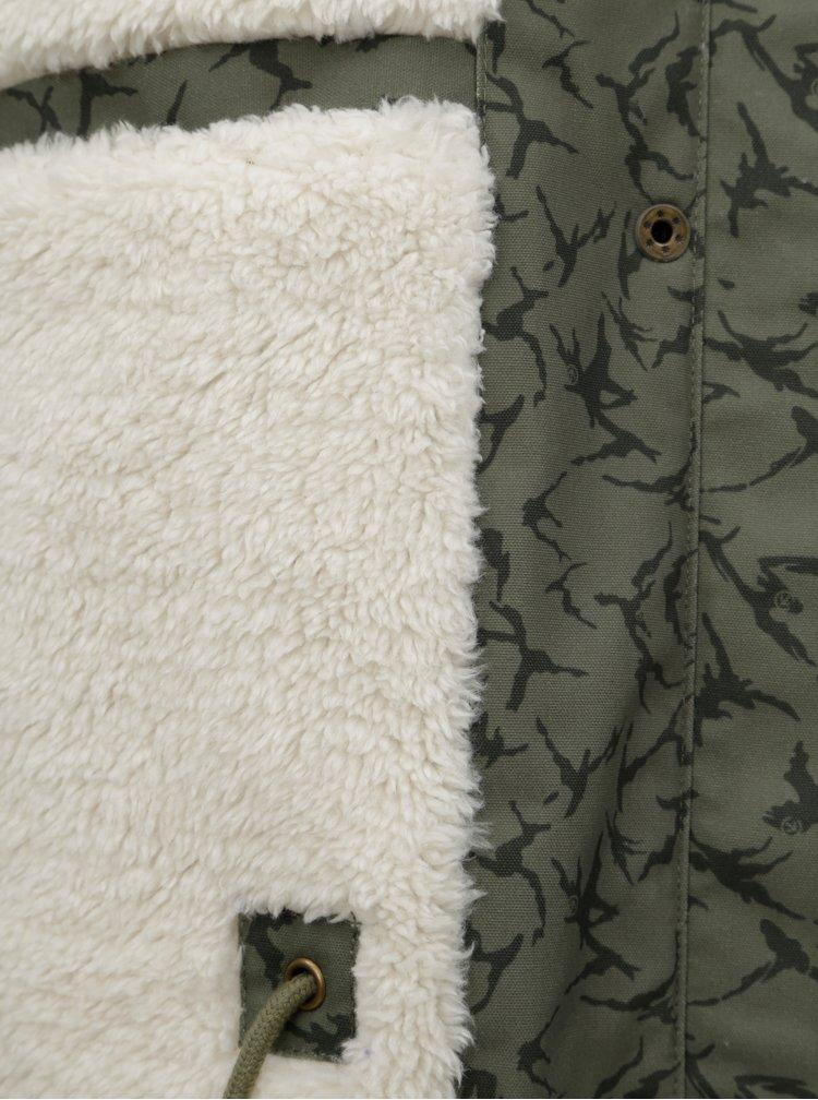 Geaca parka verde de dama de iarna cu model si blana artificiala interioara Meatfly Ruby