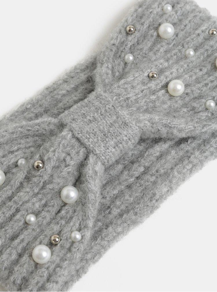 Světle šedá zimní čelenka s perličkami Pieces Felia
