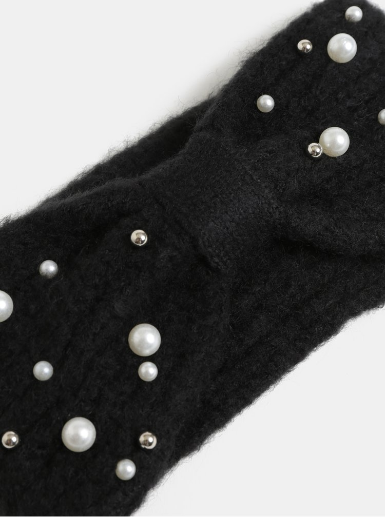 Černá zimní čelenka s perličkami Pieces Felia