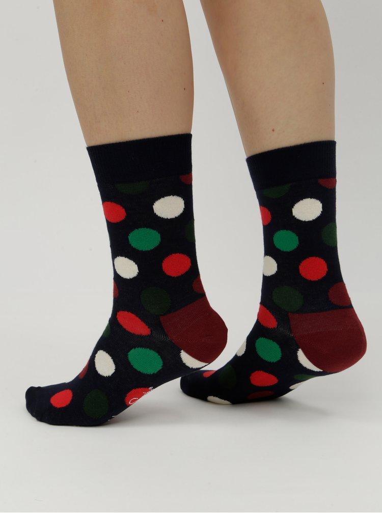 Vínovo-modré dámské puntíkované ponožky Happy Socks BIg Dot Sock