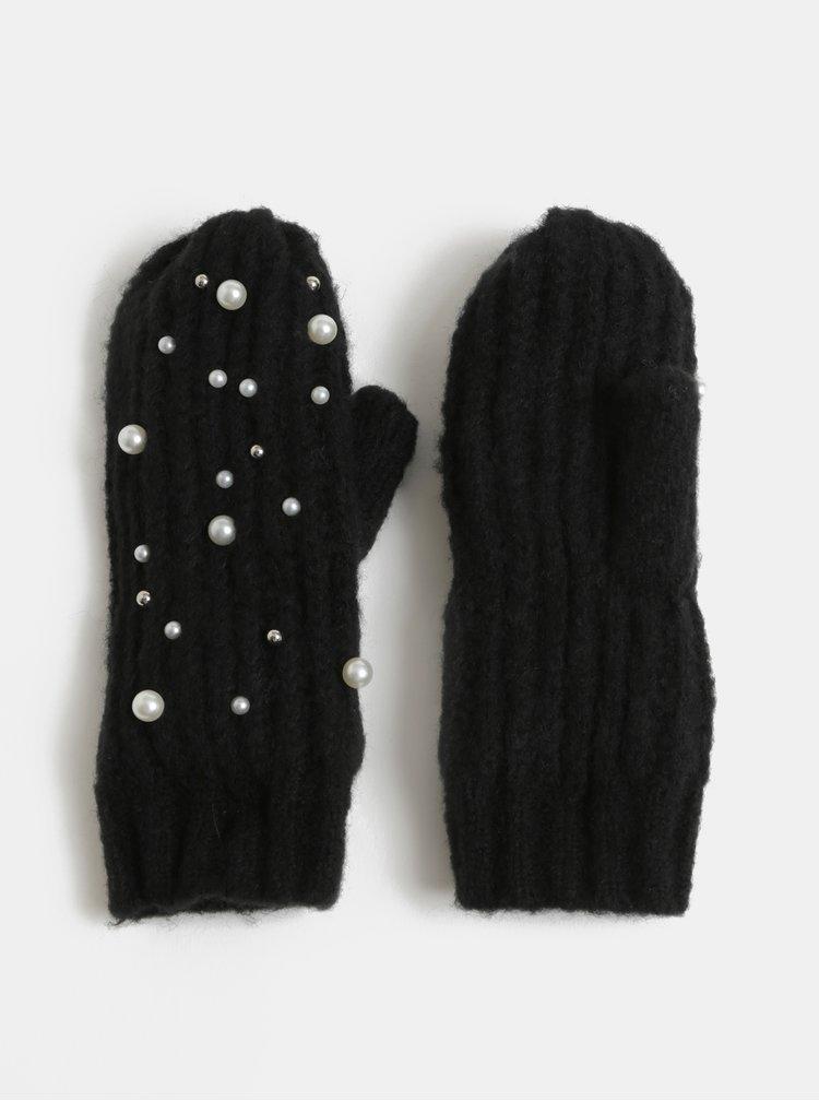 Čierne palčiaky s perličkami Pieces Felia
