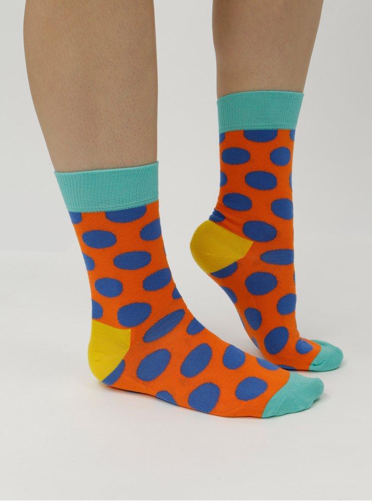 Modro-oranžové puntíkované ponožky Happy Socks Big Dot Sock