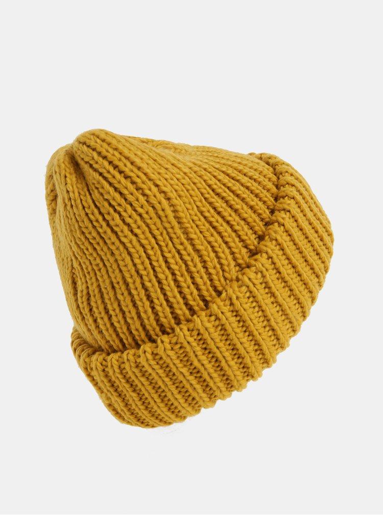 Horčicová pletená čiapka Pieces Flava