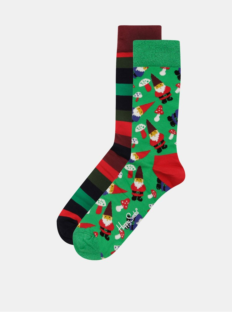 Set cadou de 2 perechi de sosete barbatesti cu motiv de Craciun Happy Socks Candy Cane Cracker