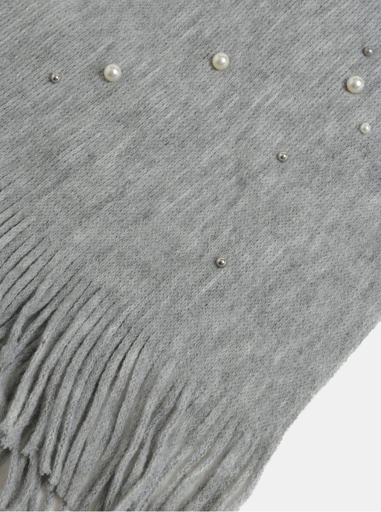 Šedá pletená šála s perličkami Pieces Fatula