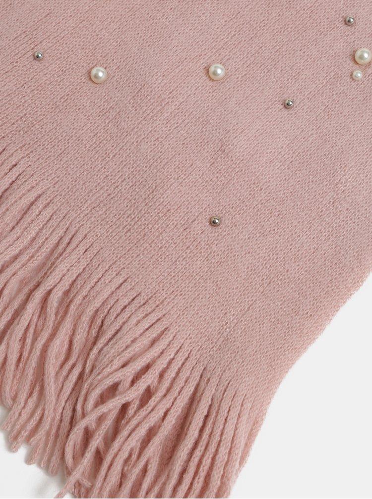 Fular roz deschis impletit cu margele Pieces Fatula