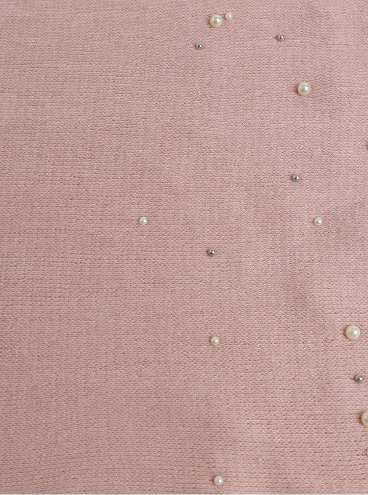 Světle růžová pletená šála s perličkami Pieces Fatula