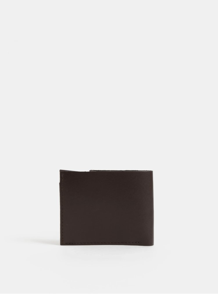 Tmavě hnědá pánská kožená peněženka s dřevěným detailem BeWooden Brunn