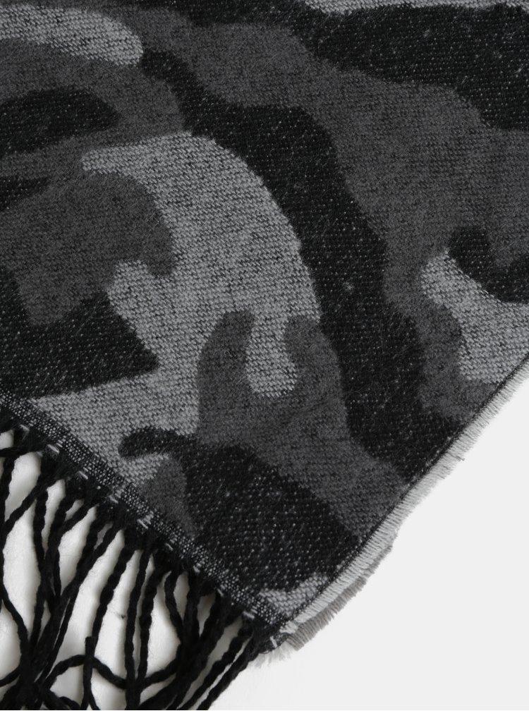 Fular gri-negru cu model Pieces Kamou