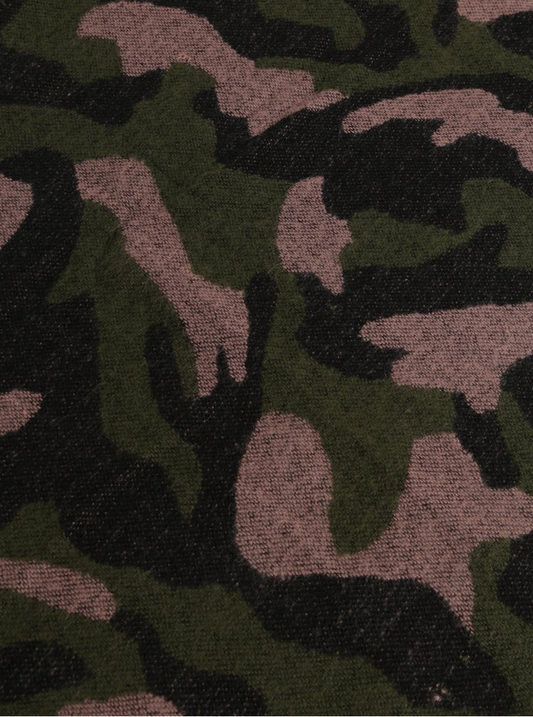 Růžovo-zelená vzorovaná šála Pieces Kamou