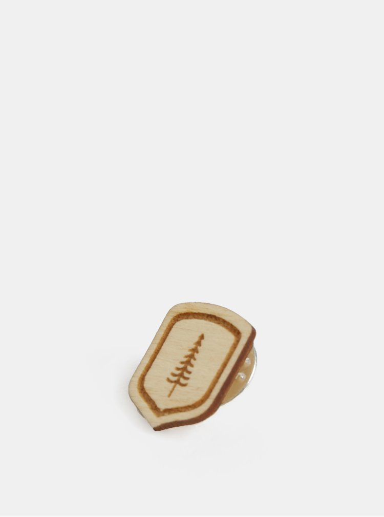 Dřevěná brož ve tvaru erbu BeWooden Erb