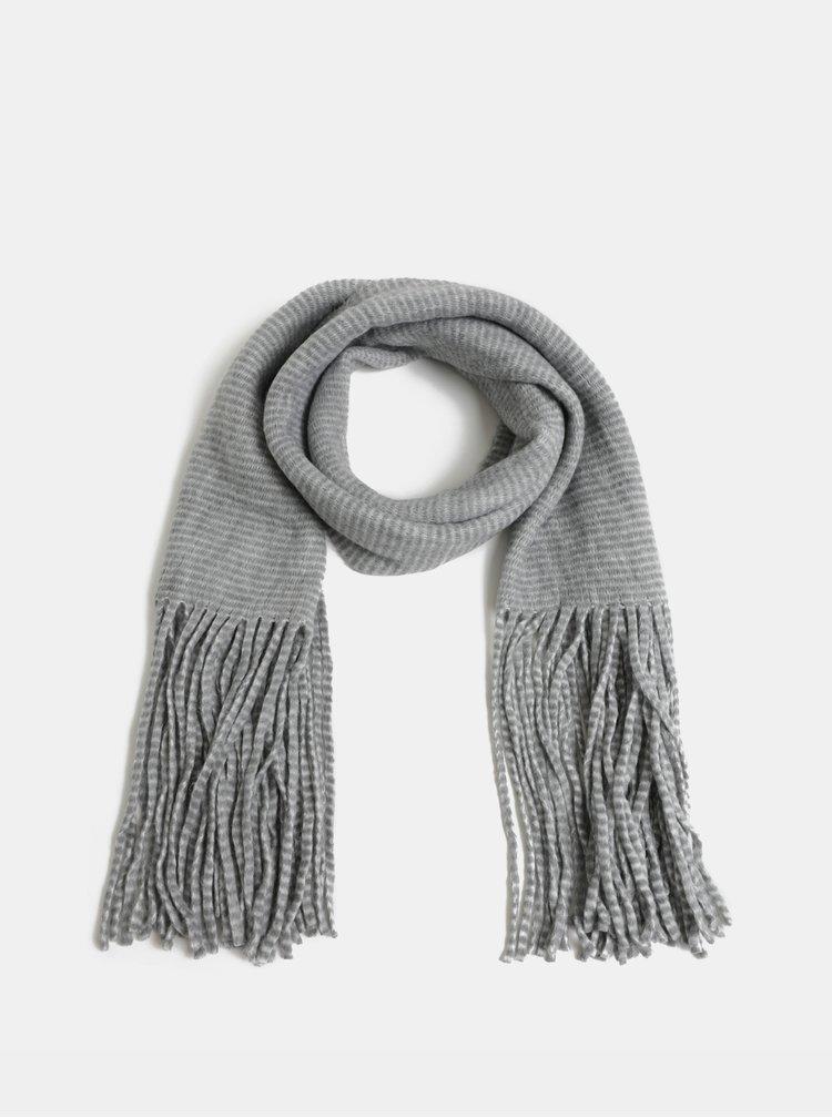 Bielo–sivý pruhovaný šál Pieces Fiola