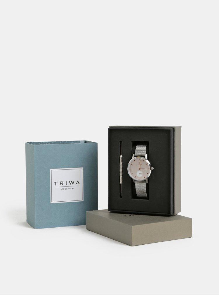 Ceas de dama cu curea argintie din otel inoxidabil TRIWA Blush Svalan