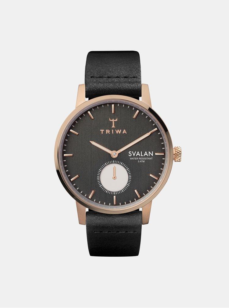 Ceas de dama cu curea neagra din piele TRIWA Noir Svalan