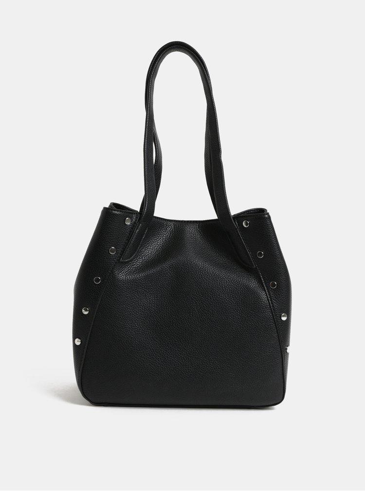 Černá kabelka s detaily ve stříbrné barvě Pieces Kimberley