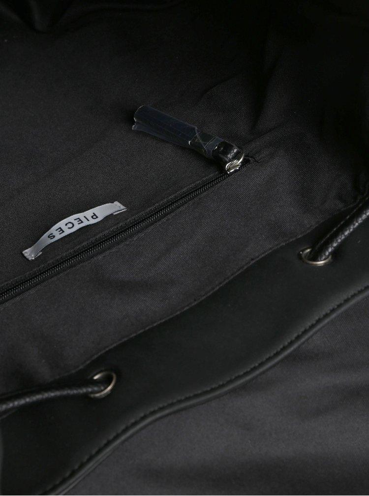 Rucsac bucket negru din piele sintetica Pieces Kiko