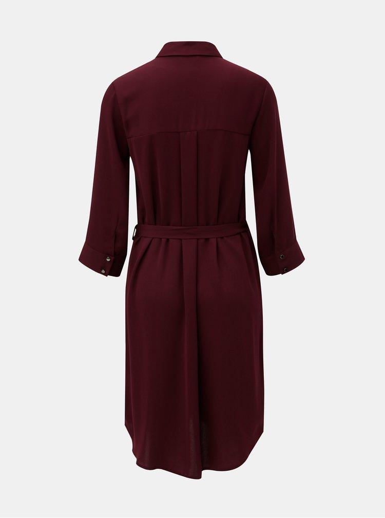 Vínové košeľové šaty s 3/4 rukávom Dorothy Perkins Berry