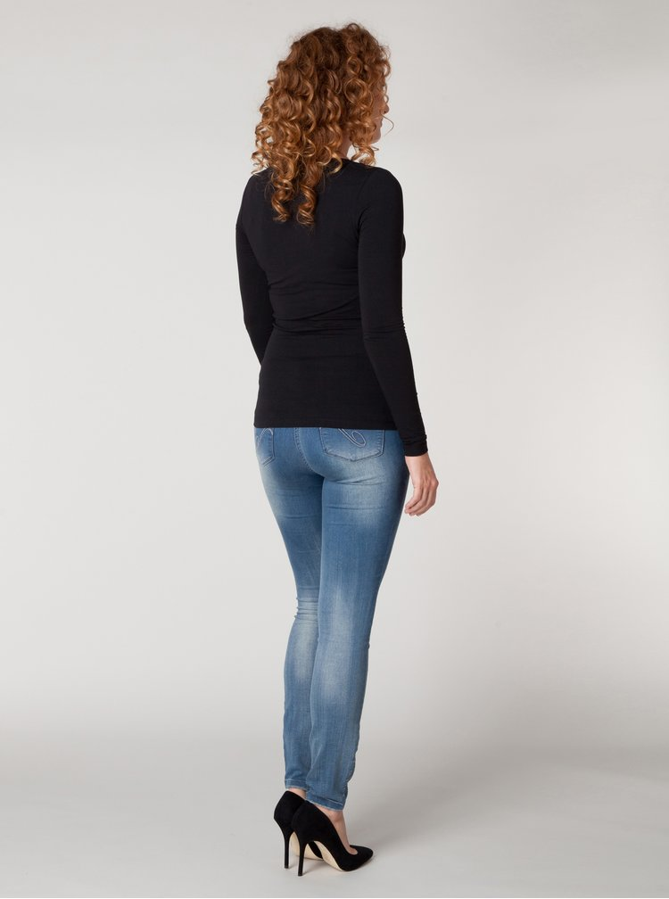Černé basic tričko s dlouhým rukávem Yest