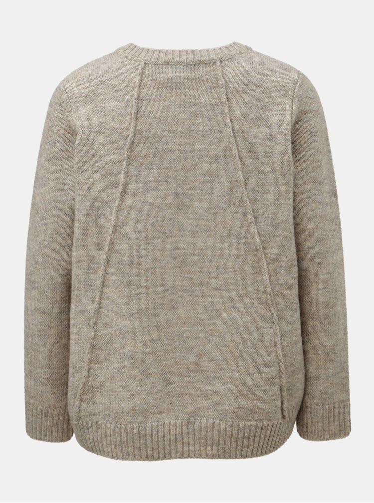 Béžový žíhaný svetr s prodlouženou zadní částí ONLY Loulou