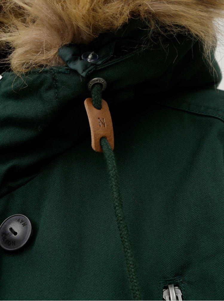 Tmavě zelená parka s odnímatelným kožíškem na kapuci Noisy May Katie