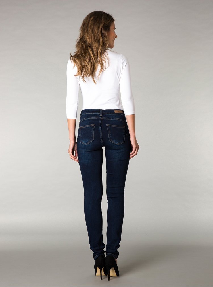 Blugi albastri push up slim din denim cu aspect prespalat Yest