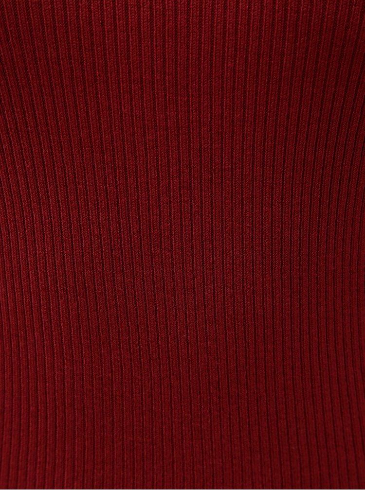 Tricou bordo cu striatii si guler inalt Jacqueline de Yong Plum