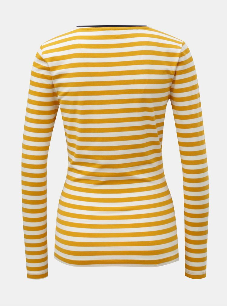 Tricou alb-mustar in dungi ONLY Fifi