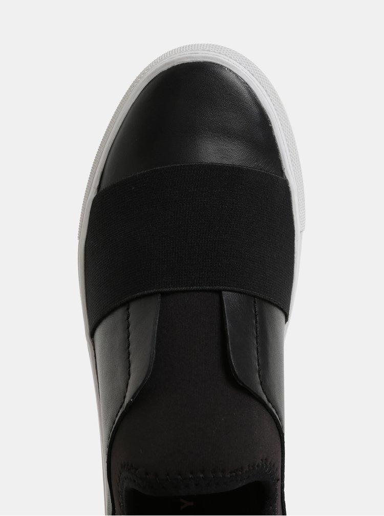 Čierne kožené slip on DKNY Clemson