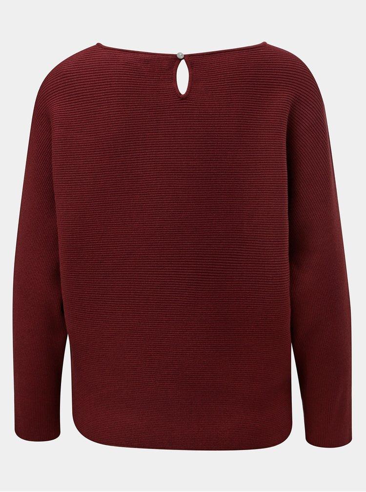 Vínový lehký krátký svetr s netopýřími rukávy ONLY Vita