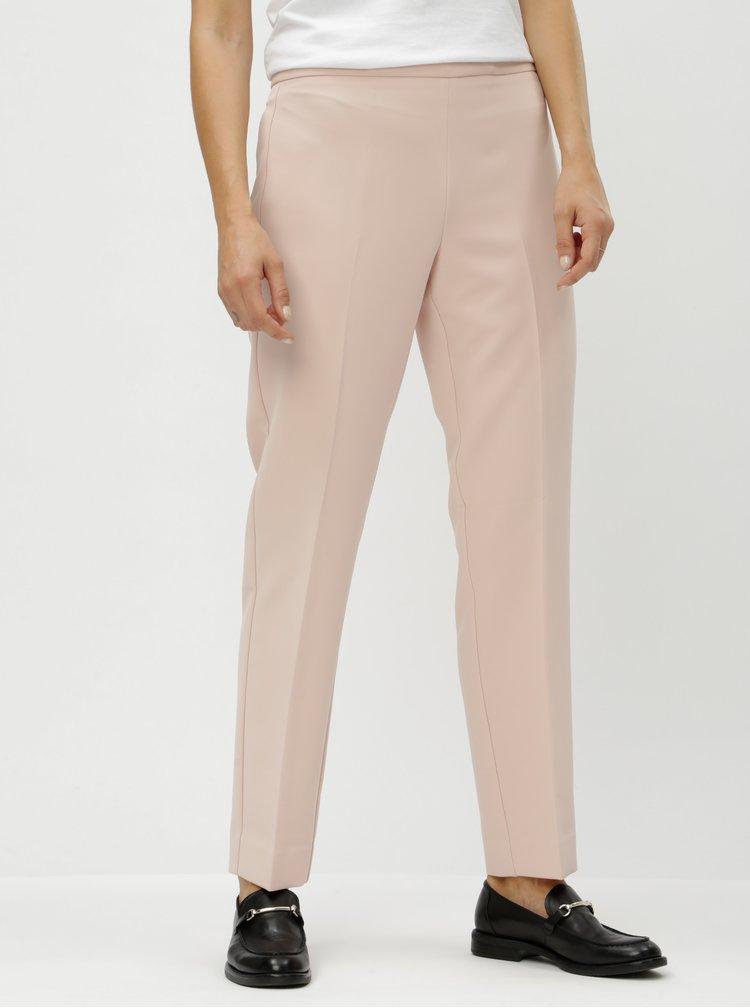 Pantaloni roz deschis cu talie inalta DKNY Foundation